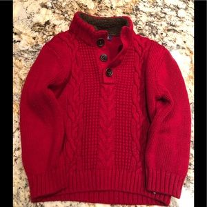 Little Boy Red Cable Knit Sweater